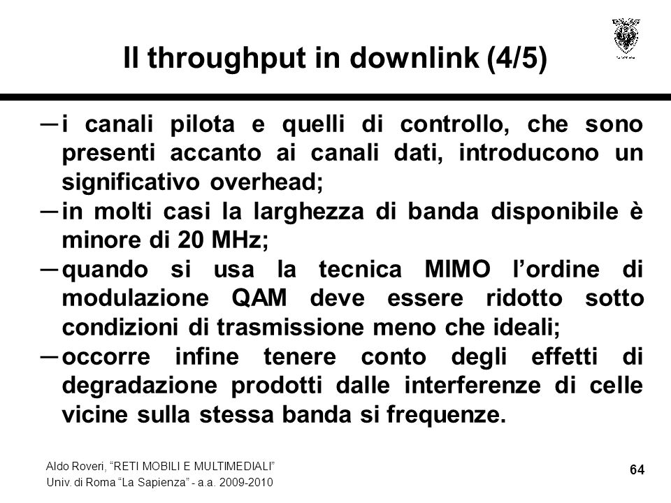 Il throughput in downlink (4/5)