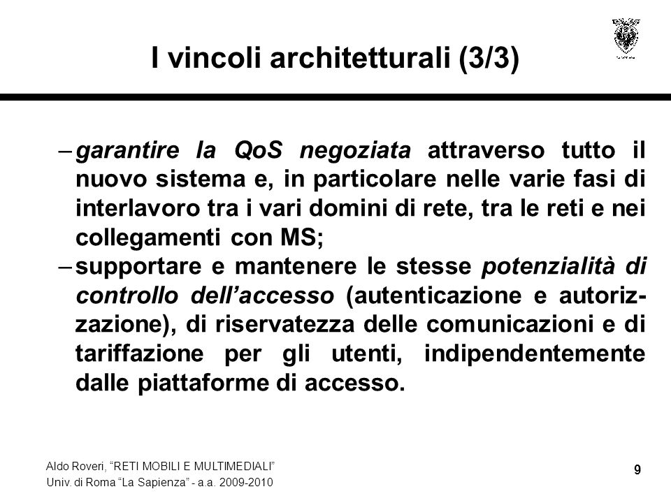 I vincoli architetturali (3/3)