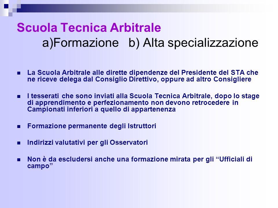 Scuola Tecnica Arbitrale a)Formazione b) Alta specializzazione