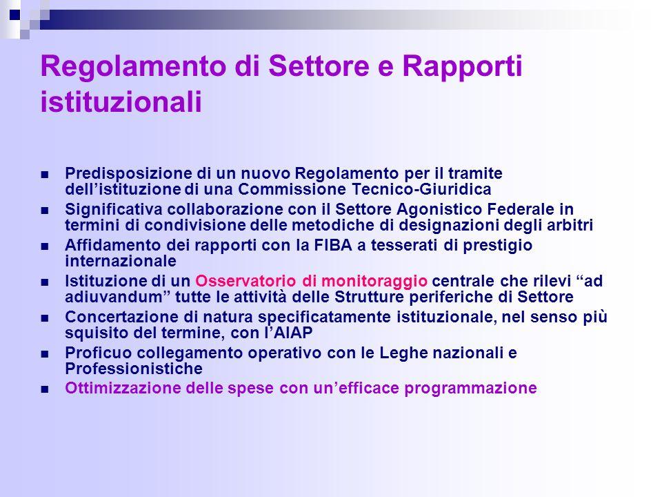 Regolamento di Settore e Rapporti istituzionali