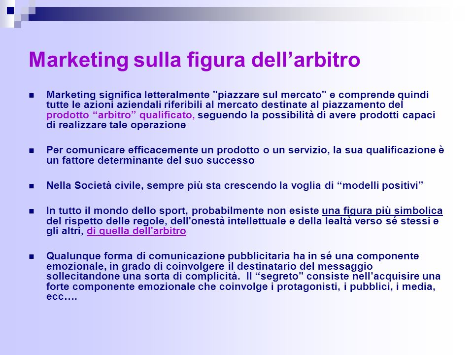 Marketing sulla figura dell'arbitro