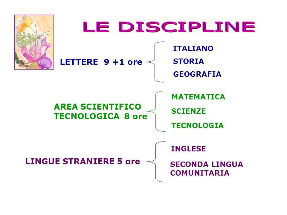 LE DISCIPLINE LETTERE 9 +1 ore AREA SCIENTIFICO TECNOLOGICA 8 ore