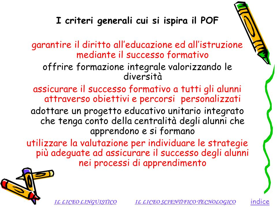 I criteri generali cui si ispira il POF