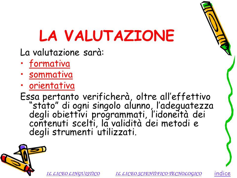 LA VALUTAZIONE La valutazione sarà: formativa sommativa orientativa