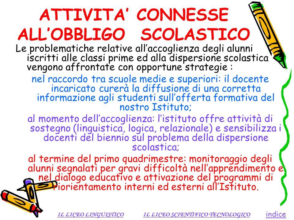 ATTIVITA' CONNESSE ALL'OBBLIGO SCOLASTICO