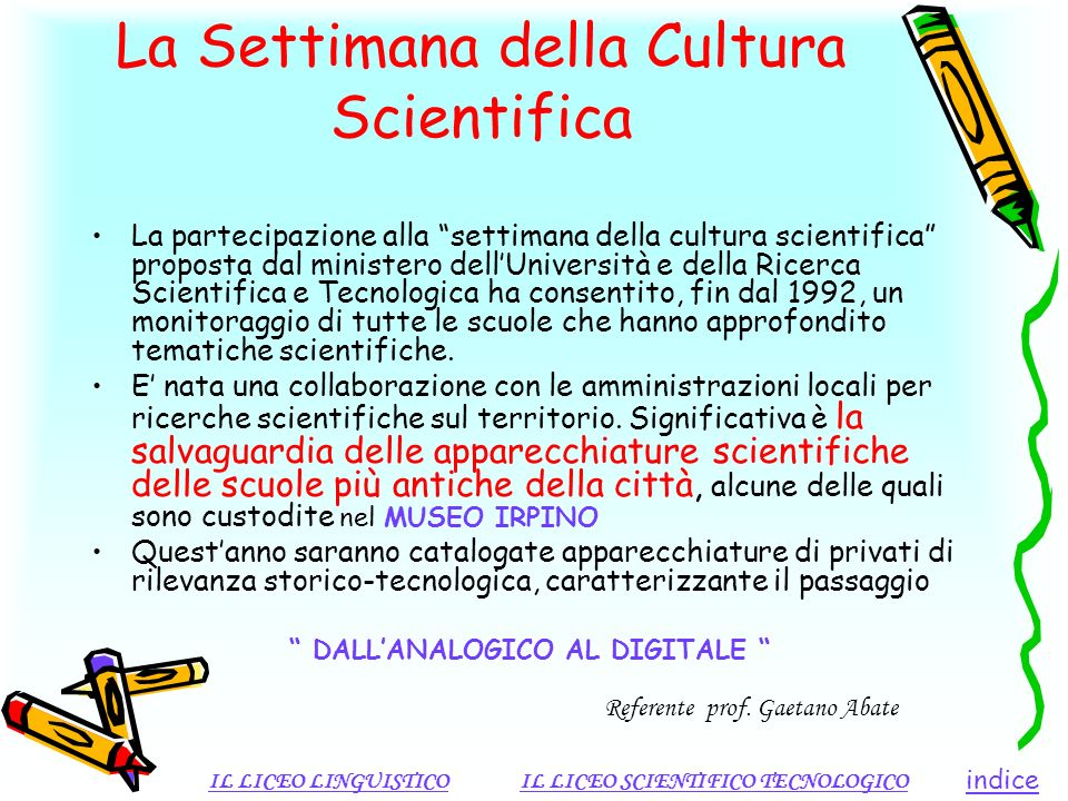 La Settimana della Cultura Scientifica