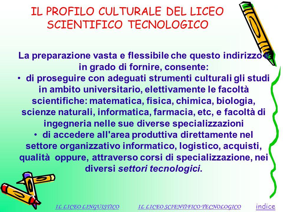IL PROFILO CULTURALE DEL LICEO SCIENTIFICO TECNOLOGICO