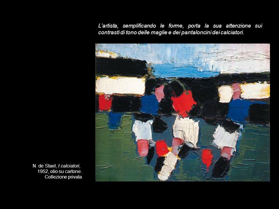 L'artista, semplificando le forme, porta la sua attenzione sui contrasti di tono delle maglie e dei pantaloncini dei calciatori.