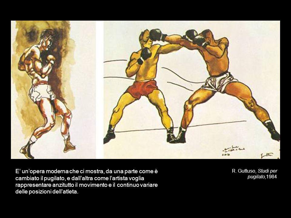 E' un'opera moderna che ci mostra, da una parte come è cambiato il pugilato, e dall'altra come l'artista voglia rappresentare anzitutto il movimento e il continuo variare delle posizioni dell'atleta.