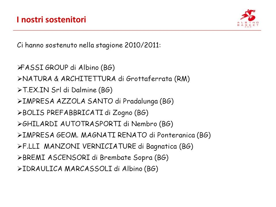 I nostri sostenitori Ci hanno sostenuto nella stagione 2010/2011: