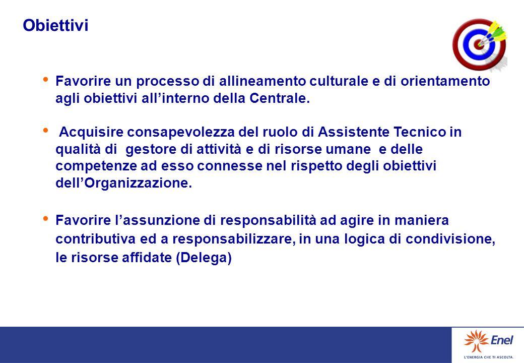 Obiettivi Favorire un processo di allineamento culturale e di orientamento agli obiettivi all'interno della Centrale.