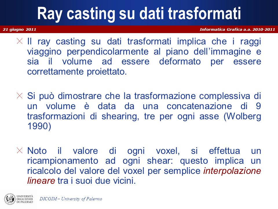 Ray casting su dati trasformati