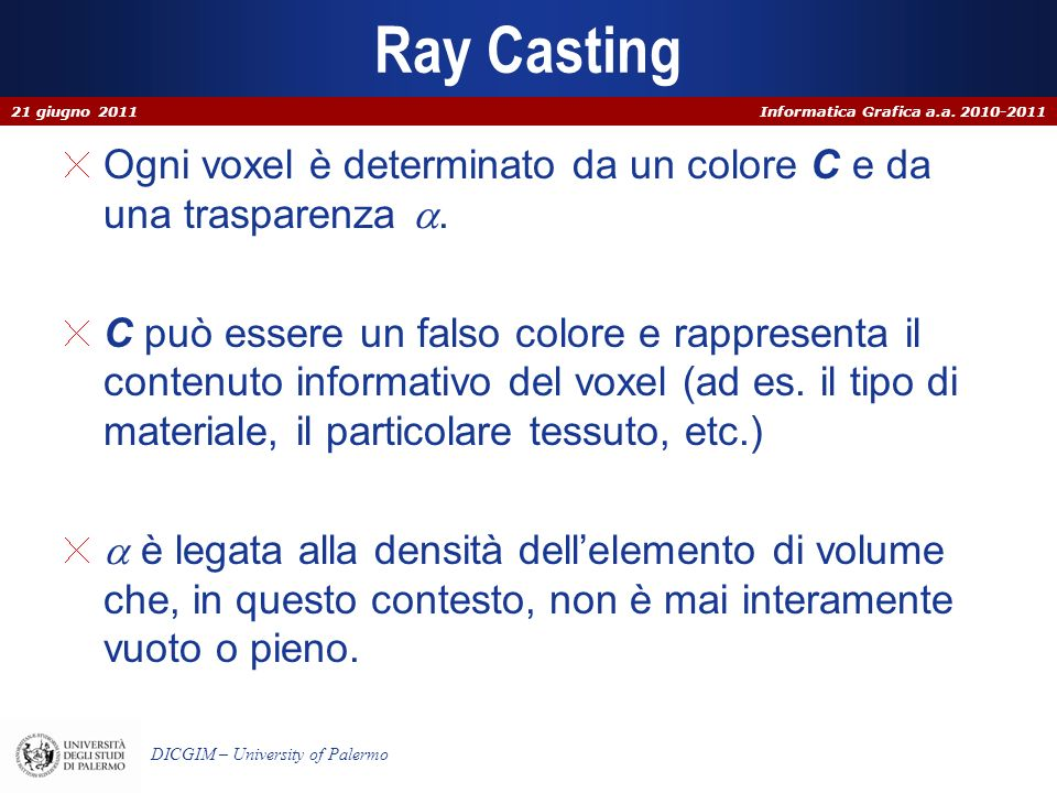 Ray Casting 21 giugno 2011. Ogni voxel è determinato da un colore C e da una trasparenza a.