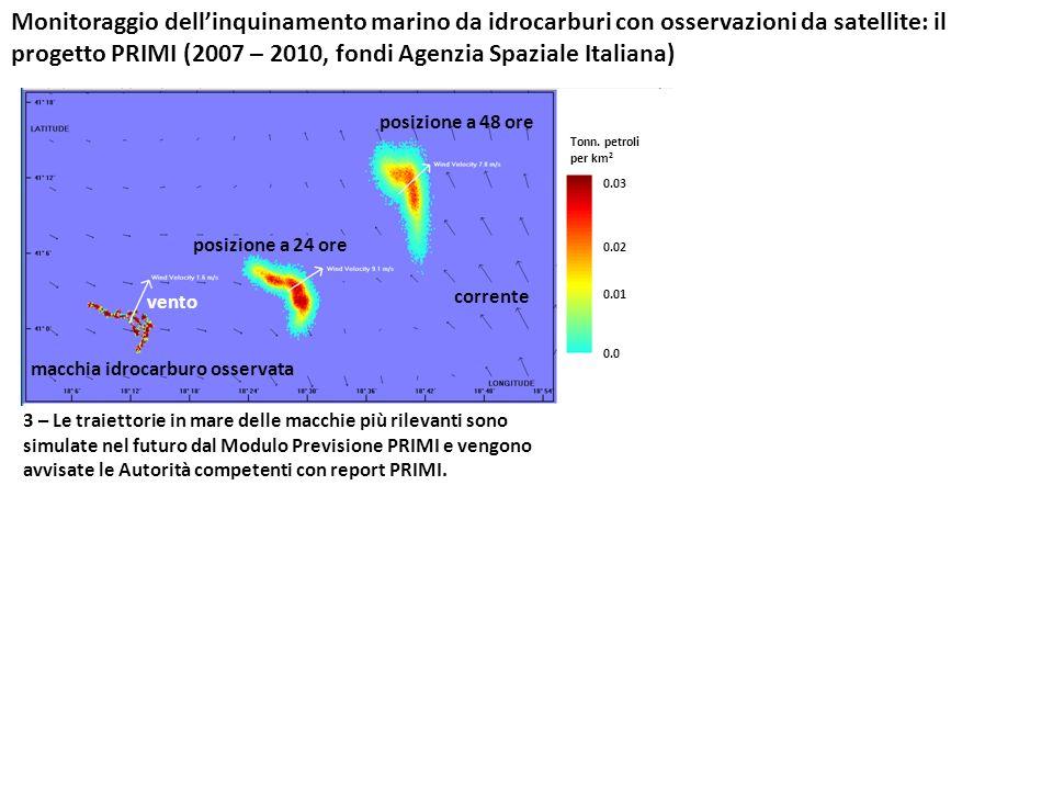 Monitoraggio dell'inquinamento marino da idrocarburi con osservazioni da satellite: il progetto PRIMI (2007 – 2010, fondi Agenzia Spaziale Italiana)