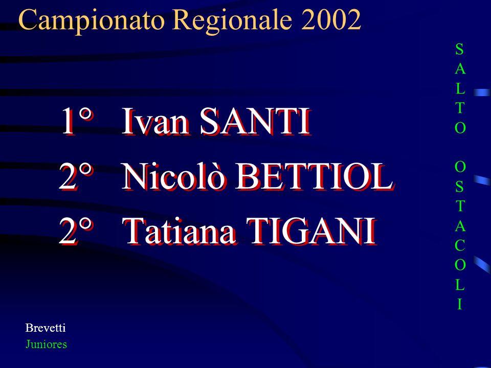 1° Ivan SANTI 2° Nicolò BETTIOL 2° Tatiana TIGANI