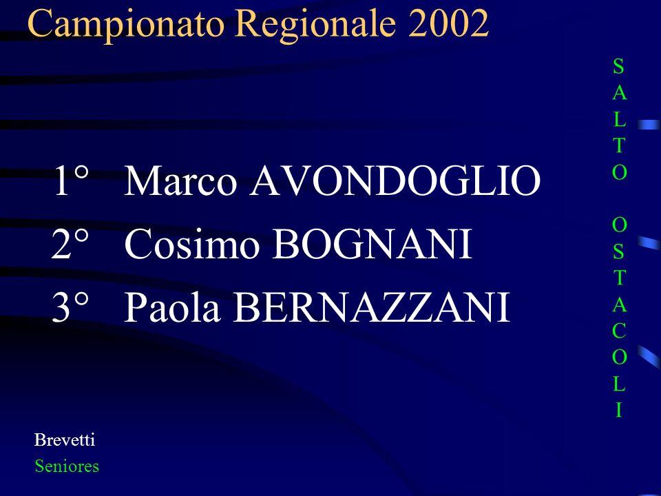 1° Marco AVONDOGLIO 2° Cosimo BOGNANI 3° Paola BERNAZZANI