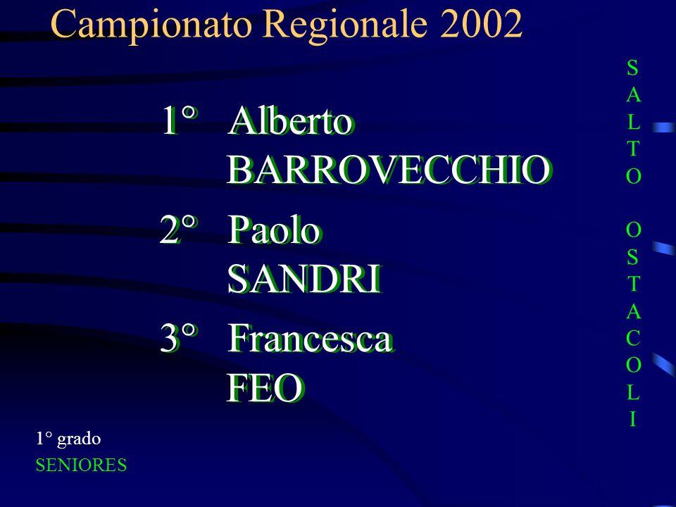 1° Alberto BARROVECCHIO 2° Paolo SANDRI 3° Francesca FEO