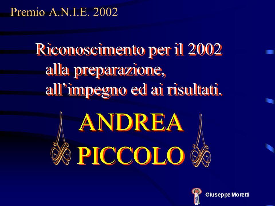 Premio A.N.I.E. 2002 Riconoscimento per il 2002 alla preparazione, all'impegno ed ai risultati. ANDREA.