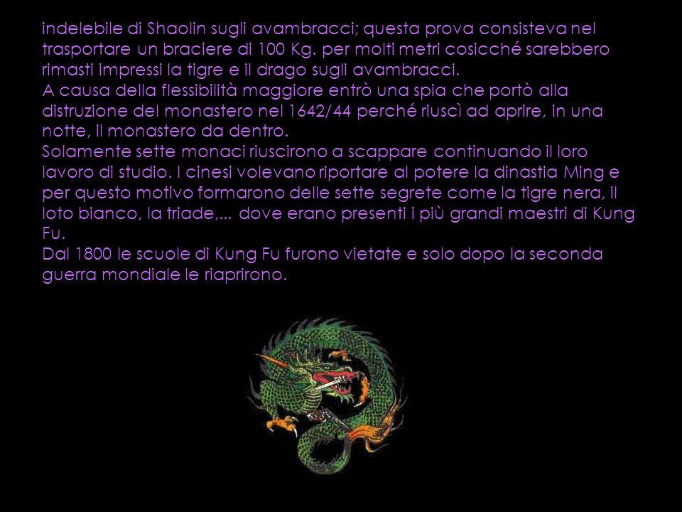 indelebile di Shaolin sugli avambracci; questa prova consisteva nel trasportare un braciere di 100 Kg.