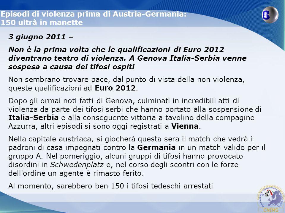 Episodi di violenza prima di Austria-Germania: