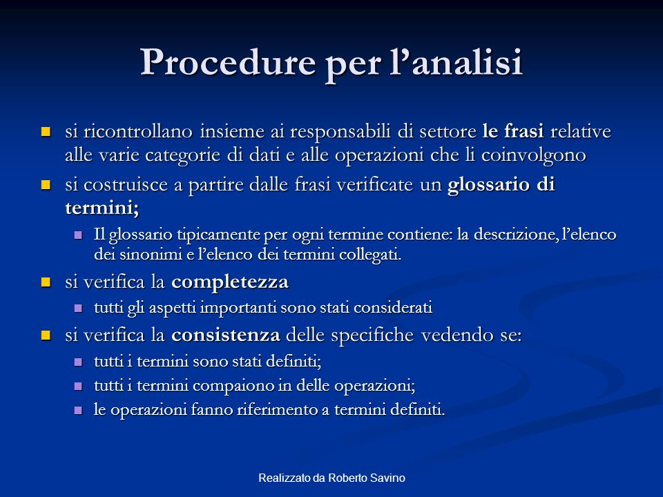 Procedure per l'analisi