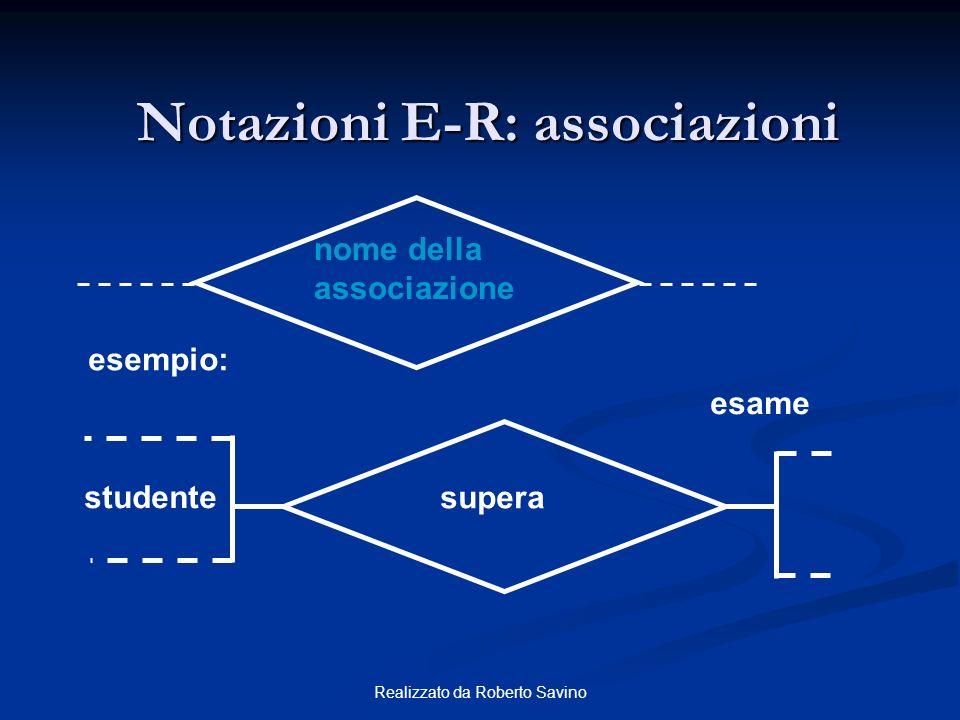 Notazioni E-R: associazioni