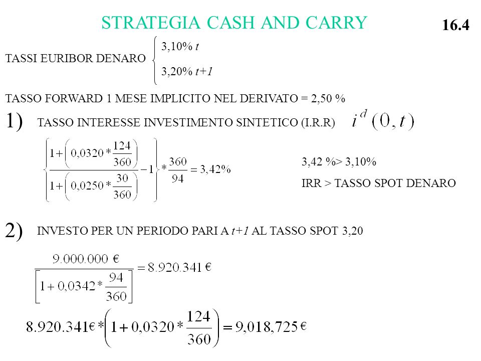 1) 2) STRATEGIA CASH AND CARRY 16.4 3,10% t 3,20% t+1