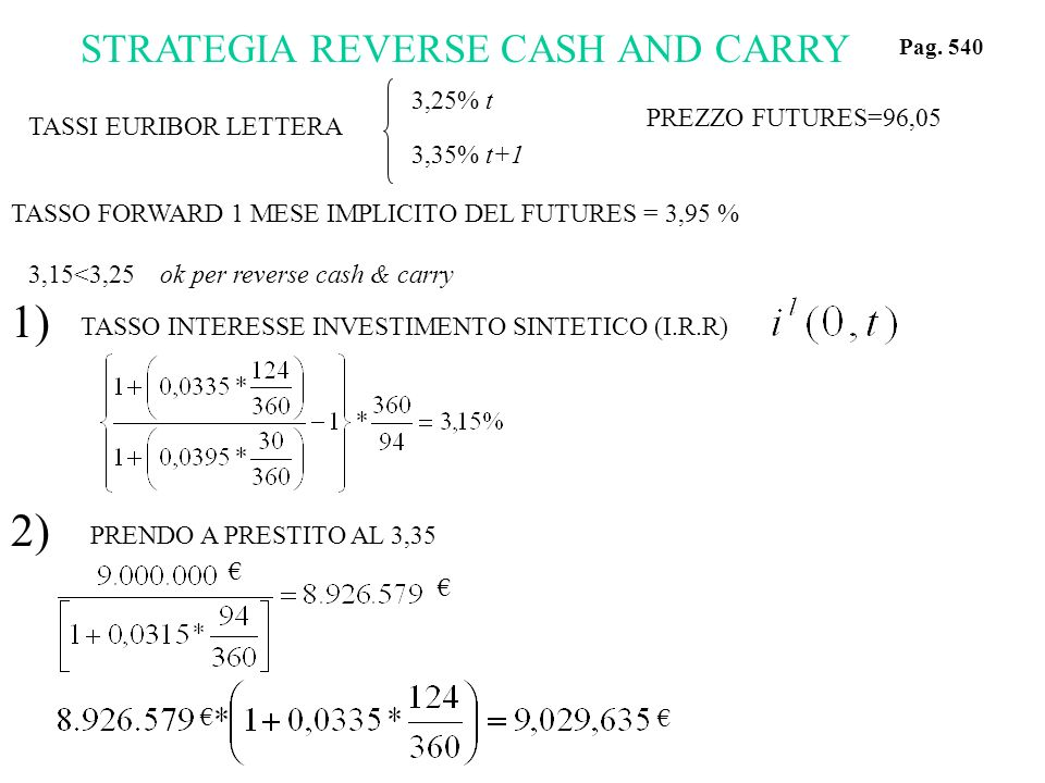 1) 2) STRATEGIA REVERSE CASH AND CARRY 3,25% t 3,35% t+1
