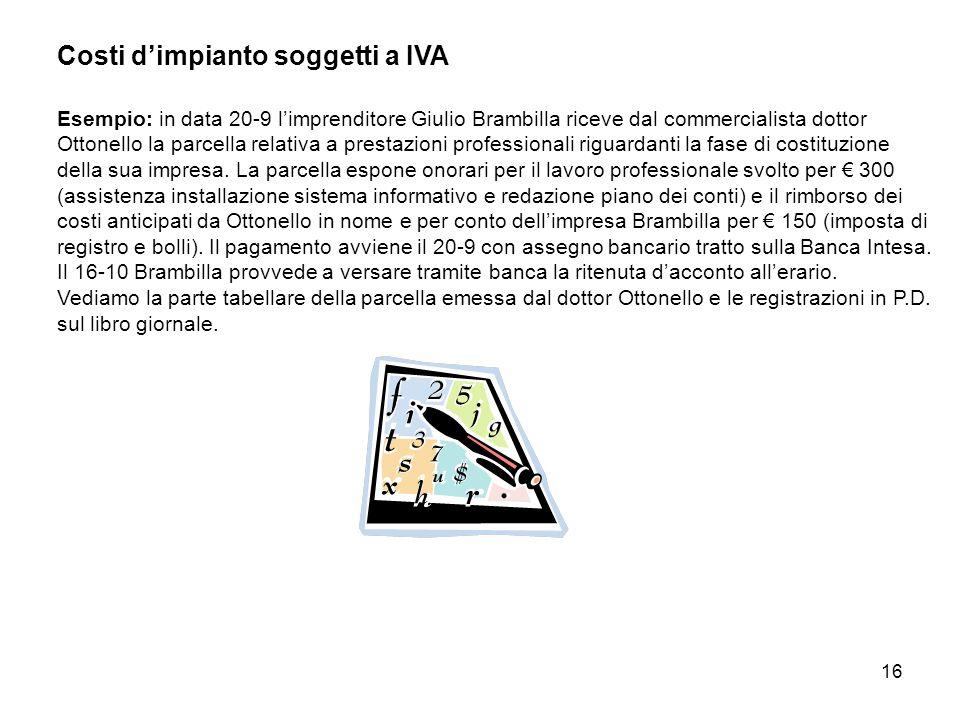 Costi d'impianto soggetti a IVA