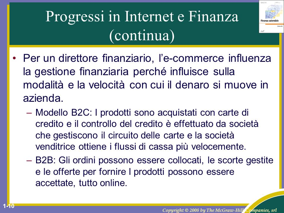 Progressi in Internet e Finanza (continua)
