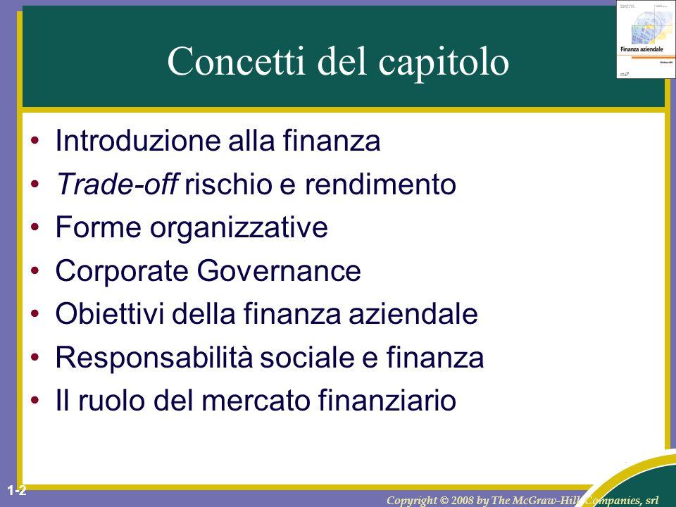 Concetti del capitolo Introduzione alla finanza