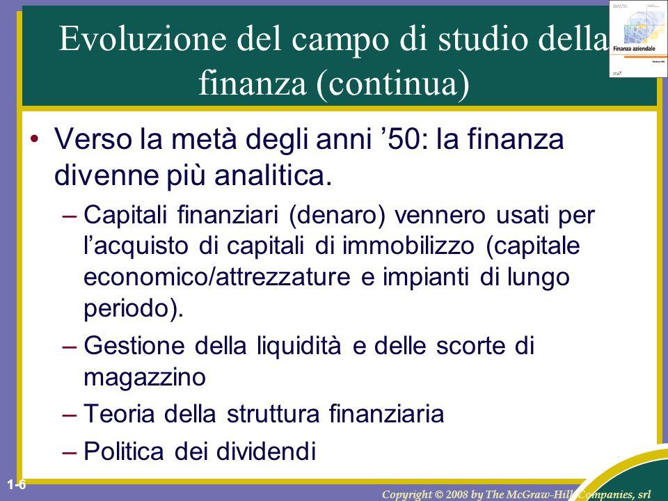 Evoluzione del campo di studio della finanza (continua)