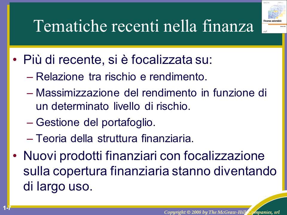 Tematiche recenti nella finanza