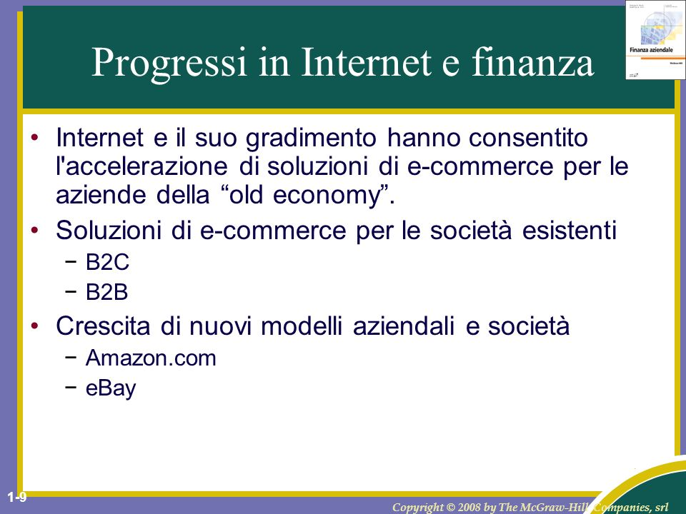 Progressi in Internet e finanza