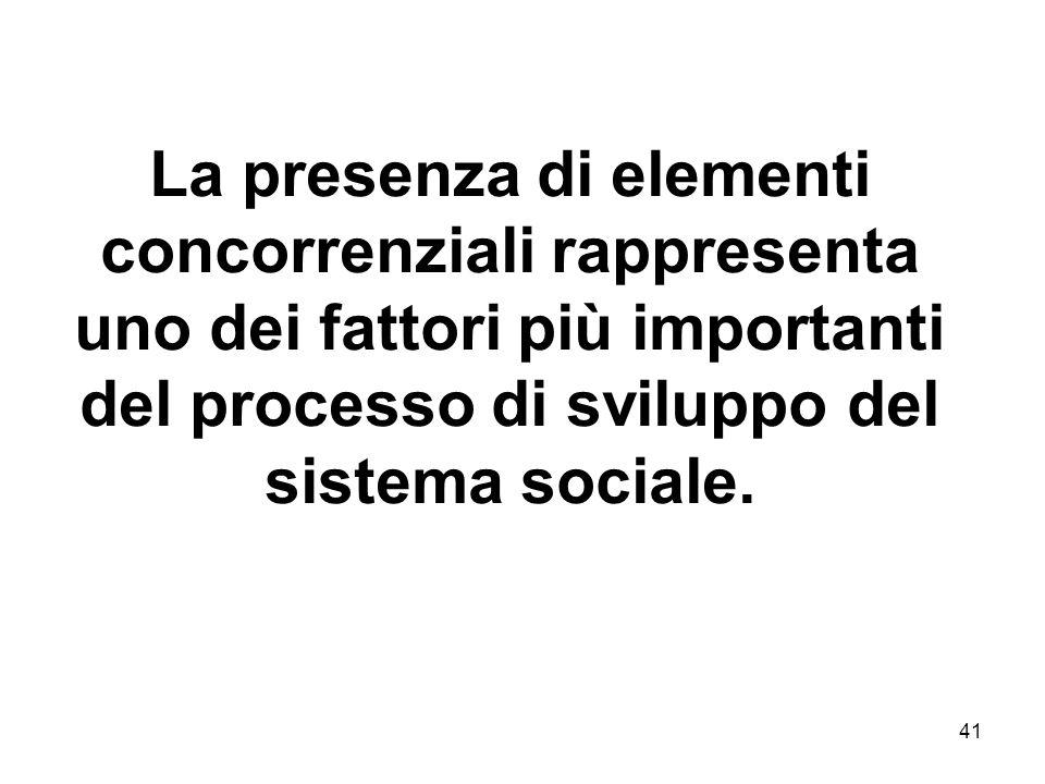 La presenza di elementi concorrenziali rappresenta uno dei fattori più importanti del processo di sviluppo del sistema sociale.