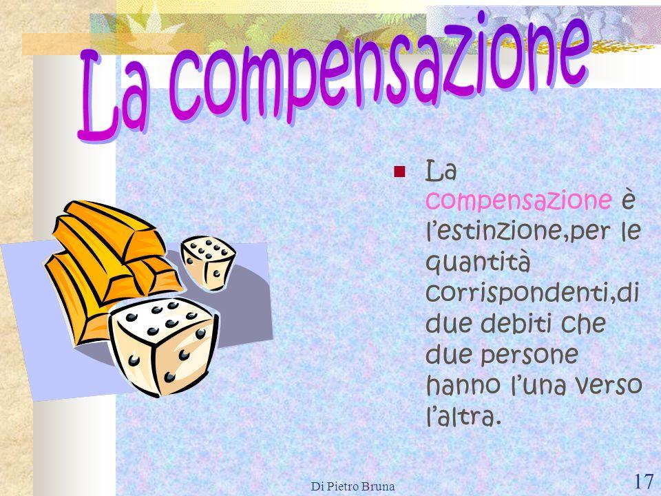 La compensazioneLa compensazione è l'estinzione,per le quantità corrispondenti,di due debiti che due persone hanno l'una verso l'altra.
