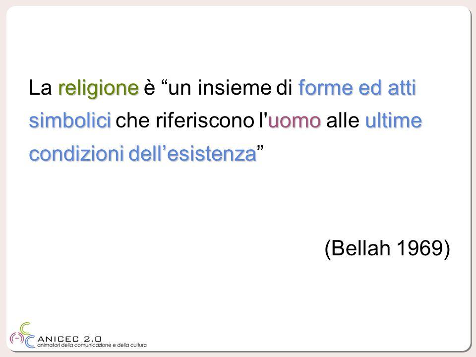 La religione è un insieme di forme ed atti simbolici che riferiscono l uomo alle ultime condizioni dell'esistenza