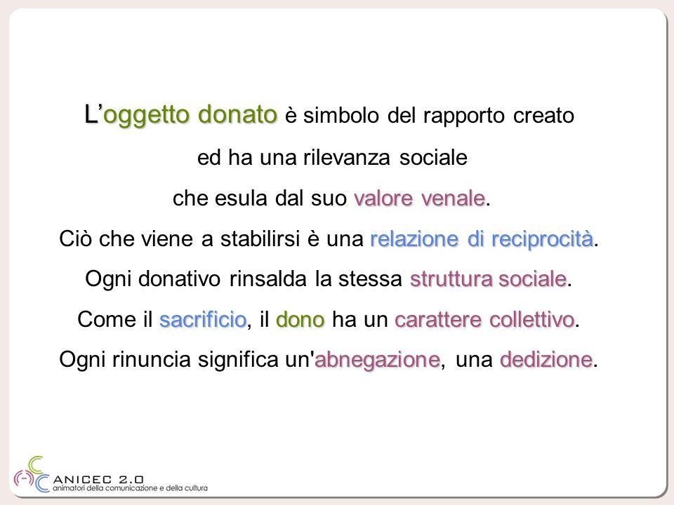 L'oggetto donato è simbolo del rapporto creato