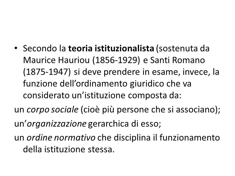 Secondo la teoria istituzionalista (sostenuta da Maurice Hauriou (1856-1929) e Santi Romano (1875-1947) si deve prendere in esame, invece, la funzione dell'ordinamento giuridico che va considerato un'istituzione composta da: