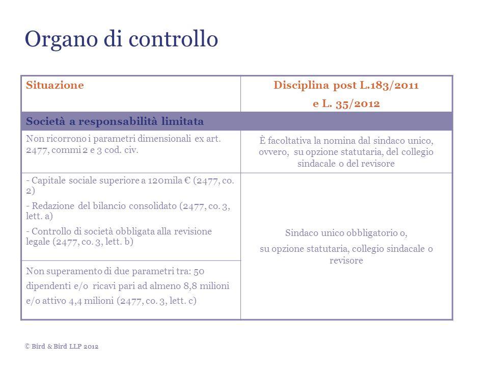 Organo di controllo Situazione Disciplina post L.183/2011 e L. 35/2012