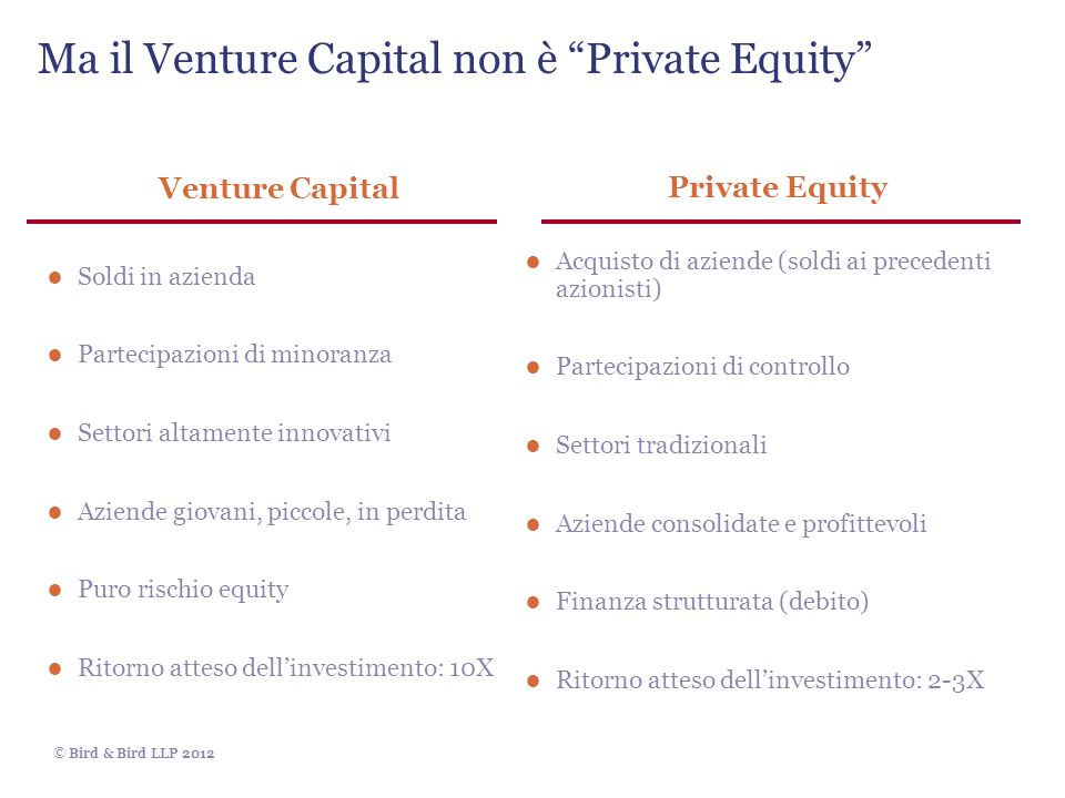 Ma il Venture Capital non è Private Equity