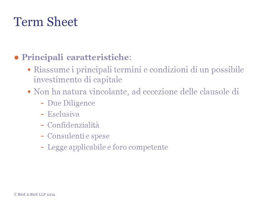 Term Sheet Principali caratteristiche: