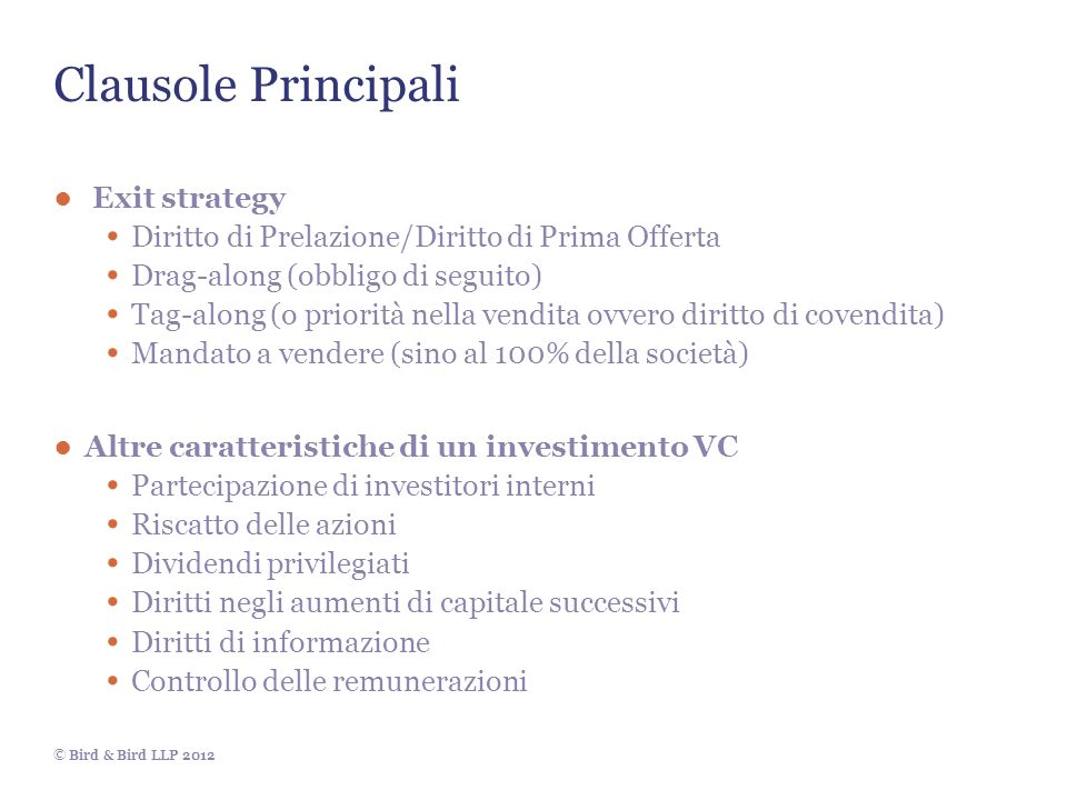 Clausole Principali Exit strategy
