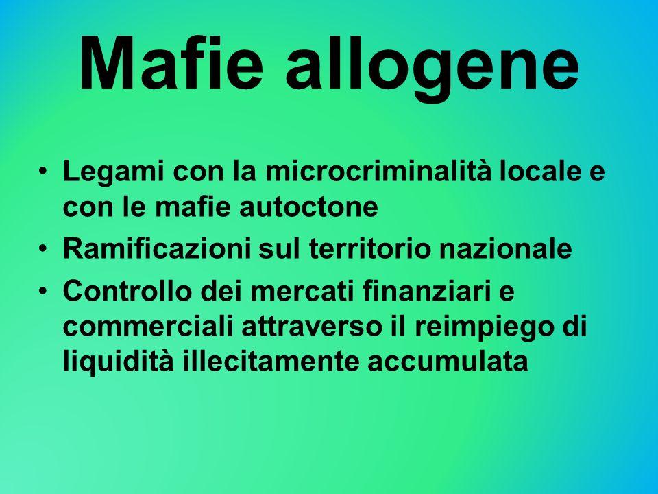 Mafie allogene Legami con la microcriminalità locale e con le mafie autoctone. Ramificazioni sul territorio nazionale.
