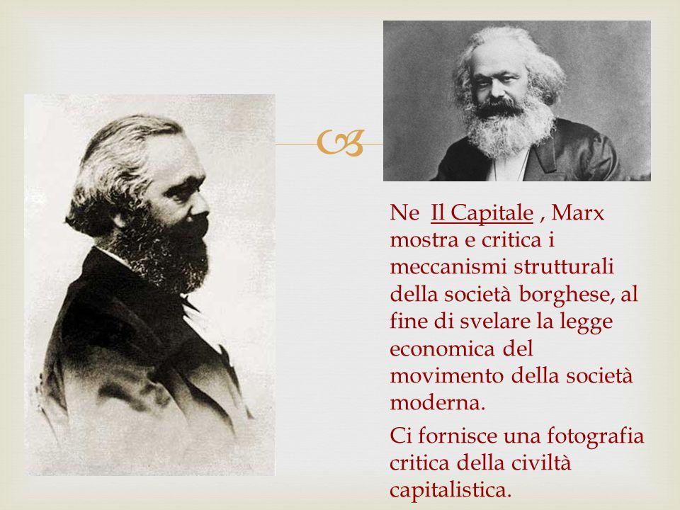 Ne Il Capitale , Marx mostra e critica i meccanismi strutturali della società borghese, al fine di svelare la legge economica del movimento della società moderna.
