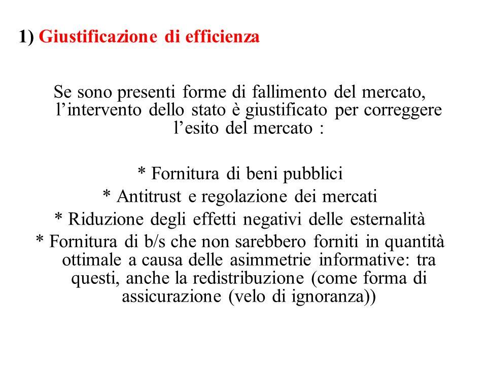1) Giustificazione di efficienza