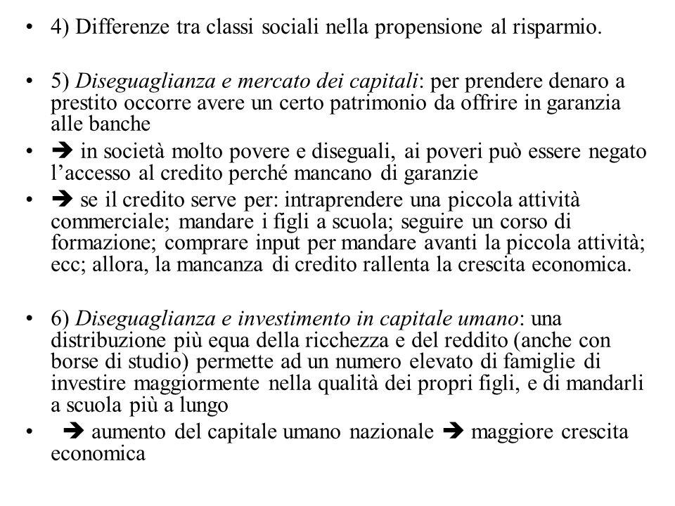4) Differenze tra classi sociali nella propensione al risparmio.