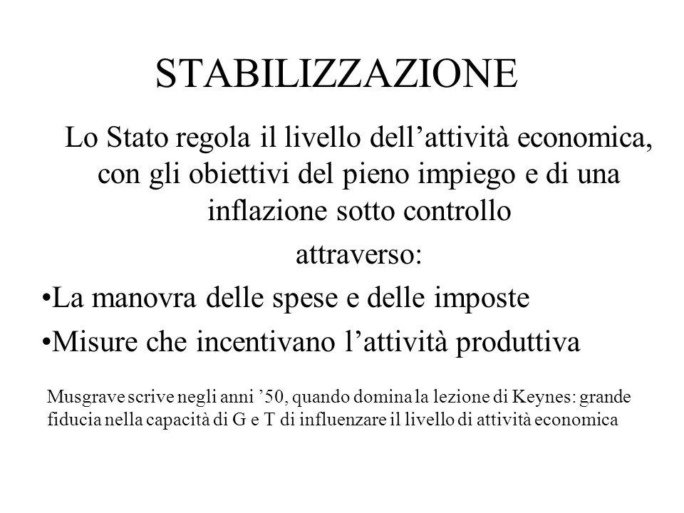 STABILIZZAZIONE Lo Stato regola il livello dell'attività economica, con gli obiettivi del pieno impiego e di una inflazione sotto controllo.