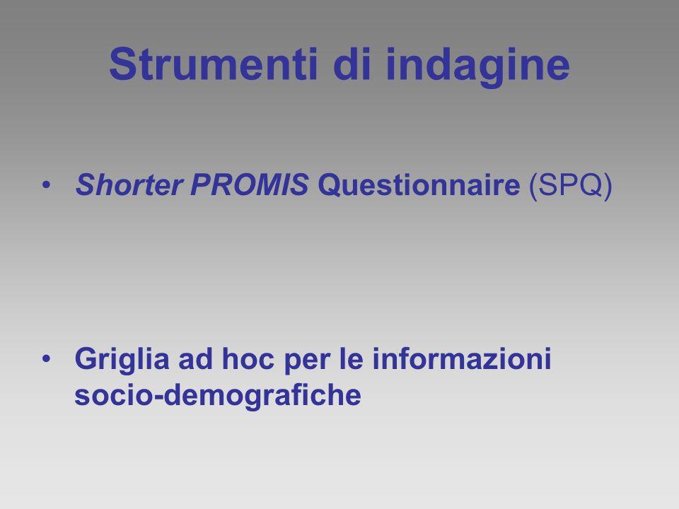 Strumenti di indagine Shorter PROMIS Questionnaire (SPQ)