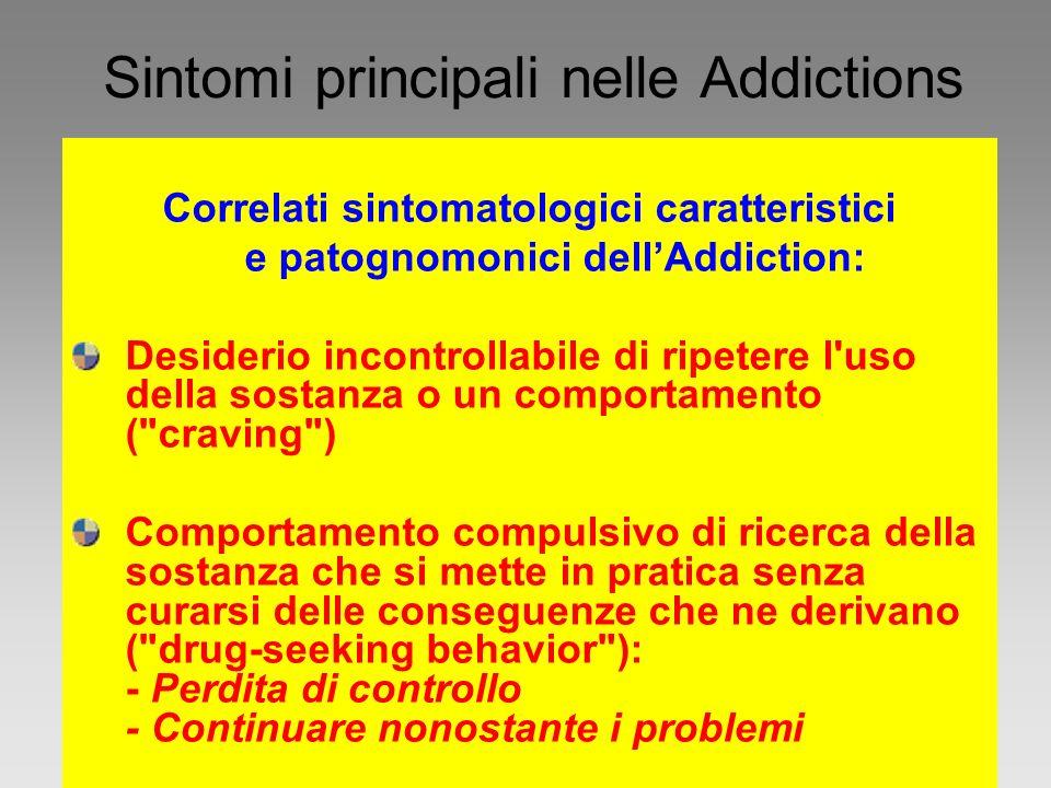 Sintomi principali nelle Addictions